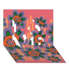 Colorful Floral Dream Love 3d Greeting Card (7x5) by DanaeStudio