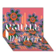 Colorful Floral Dream YOU ARE INVITED 3D Greeting Card (7x5)