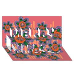 Colorful Floral Dream Merry Xmas 3D Greeting Card (8x4)