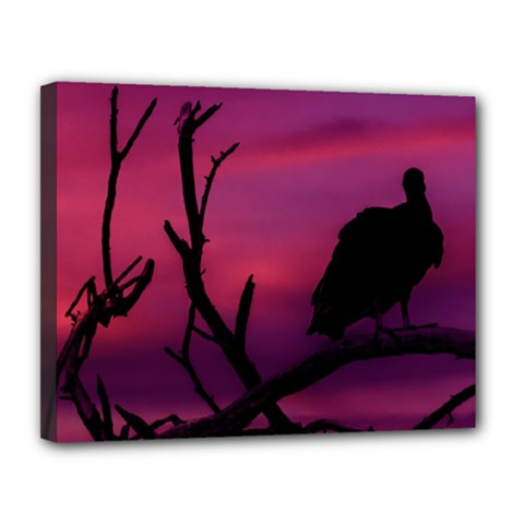 Vultures At Top Of Tree Silhouette Illustration Canvas 14  x 11