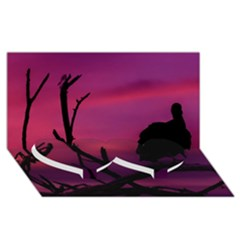 Vultures At Top Of Tree Silhouette Illustration Twin Heart Bottom 3D Greeting Card (8x4)