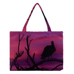 Vultures At Top Of Tree Silhouette Illustration Medium Tote Bag