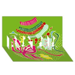 Green Organic Abstract Best Sis 3d Greeting Card (8x4) by DanaeStudio