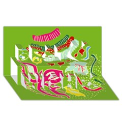 Green Organic Abstract Best Wish 3d Greeting Card (8x4) by DanaeStudio