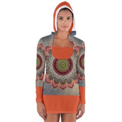 Folk Art Lotus Mandala Dirty Blue Red Women s Long Sleeve Hooded T-shirt by EDDArt