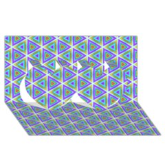 Colorful Retro Geometric Pattern Twin Hearts 3d Greeting Card (8x4)