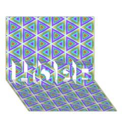 Colorful Retro Geometric Pattern Hope 3d Greeting Card (7x5) by DanaeStudio