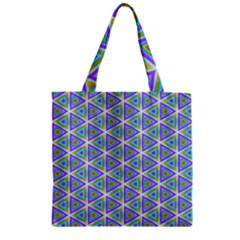 Colorful Retro Geometric Pattern Zipper Grocery Tote Bag by DanaeStudio