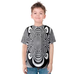 Black And White Ornamental Flower Kids  Cotton Tee by designworld65