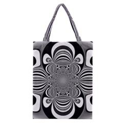 Black And White Ornamental Flower Classic Tote Bag by designworld65