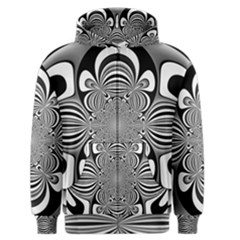 Black And White Ornamental Flower Men s Zipper Hoodie by designworld65