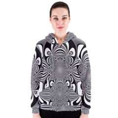 Black And White Ornamental Flower Women s Zipper Hoodie by designworld65