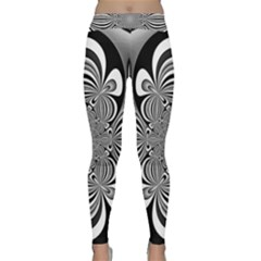 Black And White Ornamental Flower Yoga Leggings  by designworld65