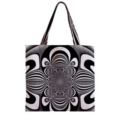 Black And White Ornamental Flower Zipper Grocery Tote Bag by designworld65