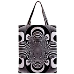Black And White Ornamental Flower Zipper Classic Tote Bag by designworld65