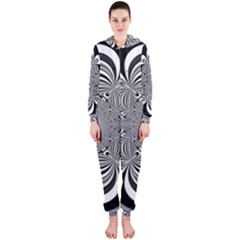 Black And White Ornamental Flower Hooded Jumpsuit (ladies)  by designworld65