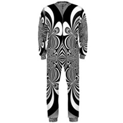 Black And White Ornamental Flower Onepiece Jumpsuit (men)  by designworld65