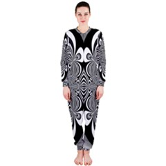 Black And White Ornamental Flower Onepiece Jumpsuit (ladies)  by designworld65