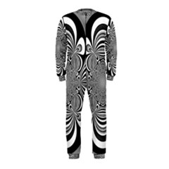 Black And White Ornamental Flower Onepiece Jumpsuit (kids)