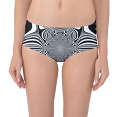 Black And White Ornamental Flower Mid Waist Bikini Bottoms by designworld65