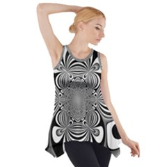 Black And White Ornamental Flower Side Drop Tank Tunic by designworld65