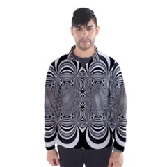 Black And White Ornamental Flower Wind Breaker (men) by designworld65