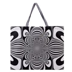 Black And White Ornamental Flower Zipper Large Tote Bag by designworld65