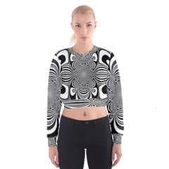 Black And White Ornamental Flower Women s Cropped Sweatshirt by designworld65
