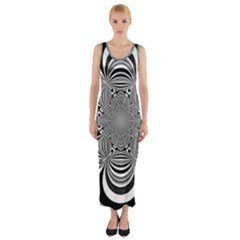 Black And White Ornamental Flower Fitted Maxi Dress by designworld65