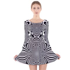 Black And White Ornamental Flower Long Sleeve Velvet Skater Dress by designworld65