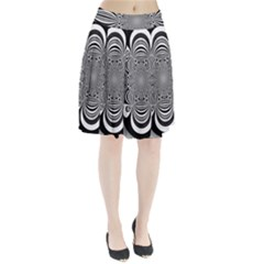 Black And White Ornamental Flower Pleated Skirt