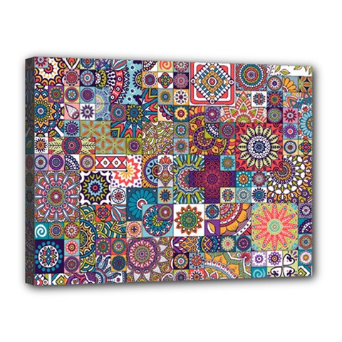 Ornamental Mosaic Background Canvas 16  X 12  by TastefulDesigns