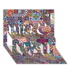 Ornamental Mosaic Background Miss You 3d Greeting Card (7x5) by TastefulDesigns