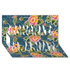 Floral Fantsy Pattern Congrats Graduate 3d Greeting Card (8x4) by DanaeStudio