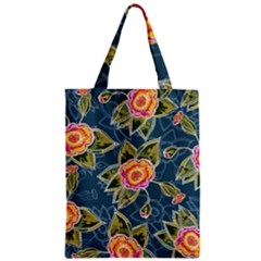 Floral Fantsy Pattern Zipper Classic Tote Bag by DanaeStudio