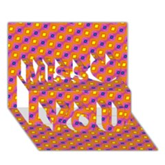 Vibrant Retro Diamond Pattern Miss You 3d Greeting Card (7x5) by DanaeStudio