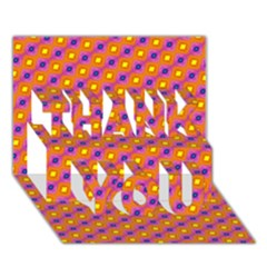 Vibrant Retro Diamond Pattern Thank You 3d Greeting Card (7x5) by DanaeStudio