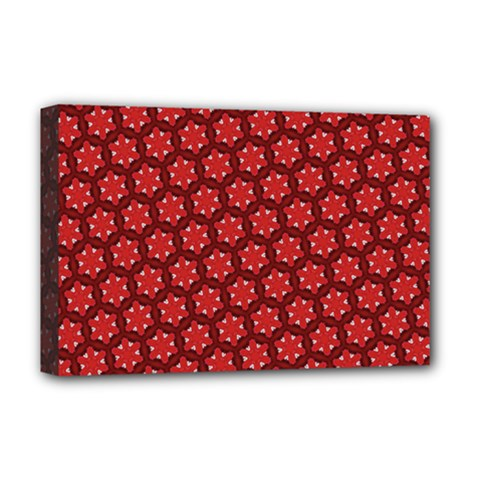 Red Passion Floral Pattern Deluxe Canvas 18  X 12   by DanaeStudio