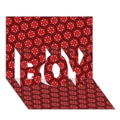 Red Passion Floral Pattern Boy 3d Greeting Card (7x5) by DanaeStudio