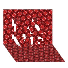 Red Passion Floral Pattern Love 3d Greeting Card (7x5) by DanaeStudio