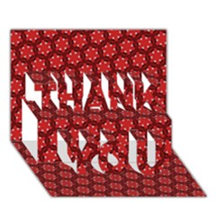 Red Passion Floral Pattern Thank You 3d Greeting Card (7x5) by DanaeStudio