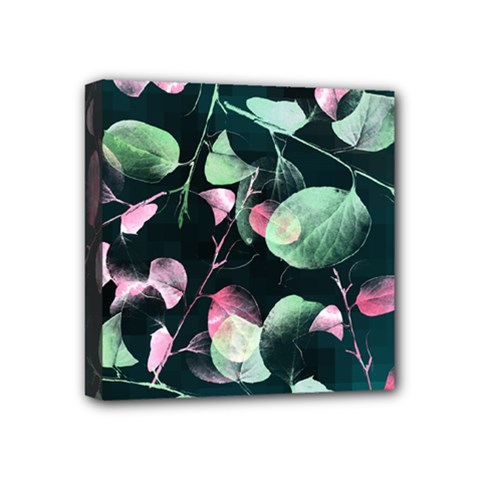 Modern Green And Pink Leaves Mini Canvas 4  X 4  by DanaeStudio