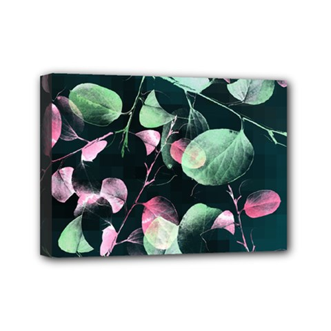 Modern Green And Pink Leaves Mini Canvas 7  X 5  by DanaeStudio