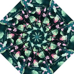 Modern Green And Pink Leaves Folding Umbrellas by DanaeStudio