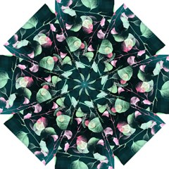 Modern Green And Pink Leaves Straight Umbrellas by DanaeStudio