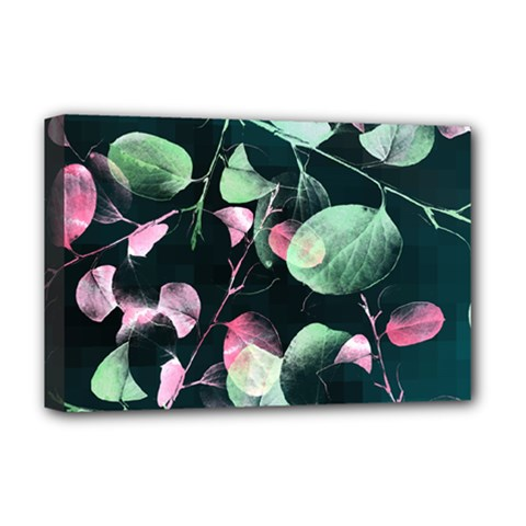 Modern Green And Pink Leaves Deluxe Canvas 18  X 12   by DanaeStudio