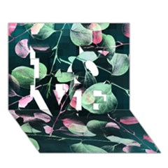 Modern Green And Pink Leaves Love 3d Greeting Card (7x5) by DanaeStudio