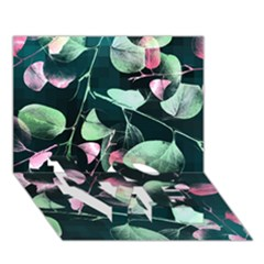 Modern Green And Pink Leaves Love Bottom 3d Greeting Card (7x5) by DanaeStudio