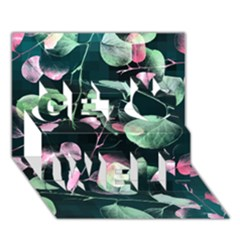 Modern Green And Pink Leaves Get Well 3d Greeting Card (7x5) by DanaeStudio