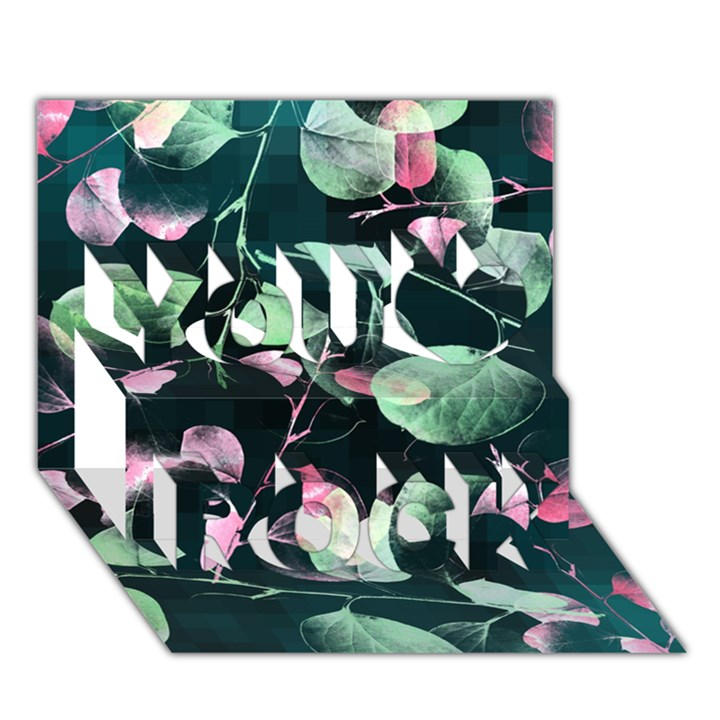 Modern Green And Pink Leaves You Rock 3D Greeting Card (7x5)